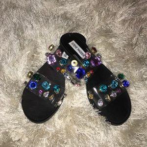 Steve Madden jeweled clear banded slides: 6.5